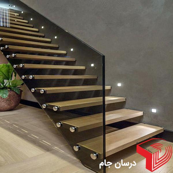 پله استیل شیشه