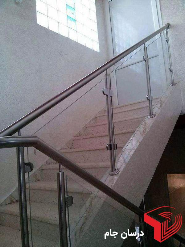 نرده استیل شیشه ای راه پله